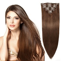 """20"""" Remy Hair Extensions Clip in Human Hair with 15clips 7pcs Soft Smooth Straig - $55.52"""