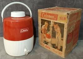 Vintage August 1964 Coleman 5502B703 Red 2 Gallon Drink Jug in Original Box USA - $39.99