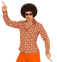 Groovy 70's Man Shirt Rhombus Large And Extra Large For Fancy Dress Costume - $28.39