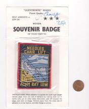 Vtg NEEDLES CHAIR LIFT Patch-Alum Bay I.O.W.-Travel Souvenir-Black Red  - $14.01