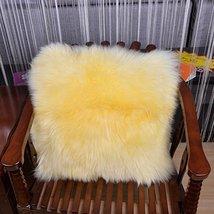 HUAHOO Sheepskin Pillow Beige Beige Fur Throw Pillow Case Cushion Cover ... - $31.99