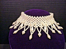 Stunning Vintage Faux Pearl Choker Collar Necklace Teardrop & Dangles Ad... - $22.28