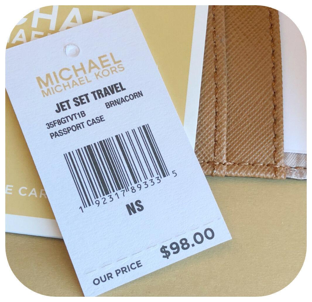 bd27fcdc8cdd NWT MICHAEL KORS JET SET TRAVEL MK LOGO PVC PASSPORT CASE WALLET IN BROWN/ ACORN