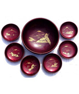 Meiji Period 1868 - 1912 JAPAN 1 Serving 6 Salad Bowls Red Lacquer Servi... - $210.99