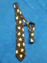 Looney Tunes Tasmanian Devil Necktie Black Novelty Taz Hearts 1999 Vinta... - $9.89