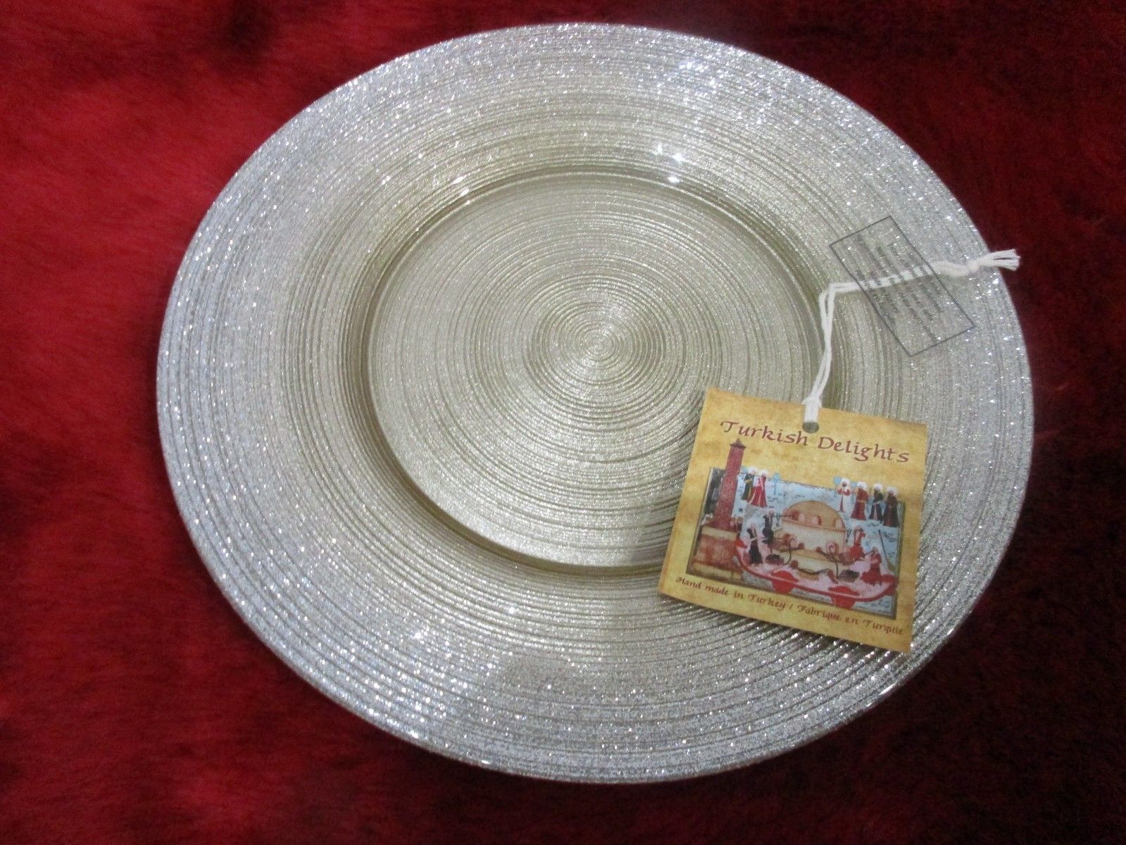 TURKISH DELIGHTS GOLD SILVER SPARKLE SALAD GLASS PLATES SET/2 & Turkish Delights Gold Silver Sparkle Salad and 50 similar items