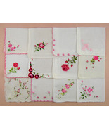 Vintage Embroidered Pink Roses Hankies,One Dozen Assorted Hankies (Lot #... - $75.00