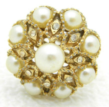 VTG Gold Tone Faux Pearl Clear Rhinestone Cluster Cocktail Ring Size 6.75 - $19.80