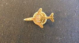 Vintage Aircraft Tie Pin Military Fighter Jet  - Gold Plated Marked 101 ... - $15.00