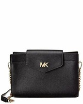 MICHAEL Michael Kors Crossgrain Leather Crossbody Clutch (Black, One Size) - £131.26 GBP