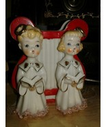 VINTAGE BOY AND GIRL ANGEL WITH SONG BOOKS PLANTER - $29.65