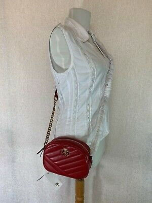 Primary image for NWT Tory Burch Red Apple Kira Chevron Small Camera Bag $358