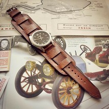 Handcrafted vintage leather 20mm  watchband Watch Strap military retro h... - $128.70