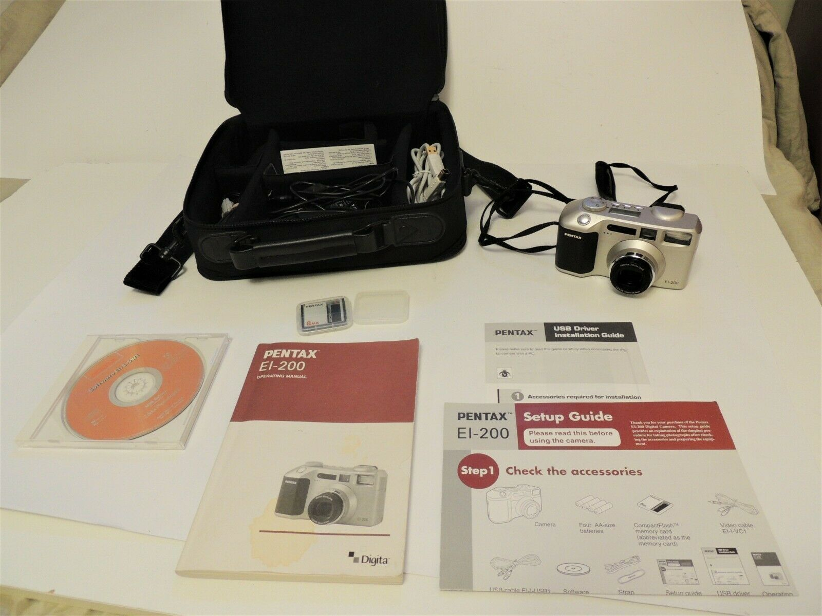 Primary image for Pentax EI-200 Digital Camera case, Mem cards, paperwork, charger, cables Nice!!
