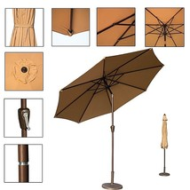 Outdoor 9 Ft Patio Market Umbrella Tilt Crank Aluminium UV 8 Ribs Beige ... - $67.42 CAD
