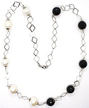 SILVER 925 NECKLACE, ONYX BLACK FACETED, PEARLS, 24 3/8in, CHAIN RHOMBUSES image 2