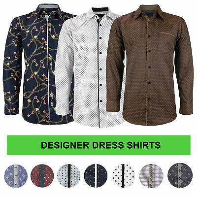 LW Men's Western Button Up Long Sleeve Designer Dress Shirt