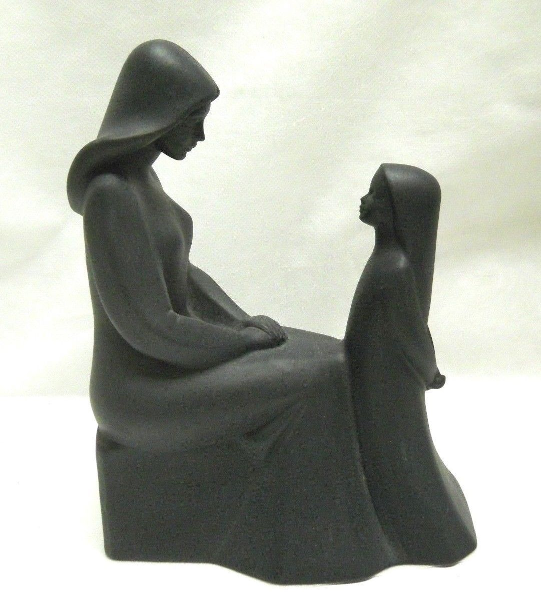 Vintage Royal Doulton Mother and Daughter Figurine in Rare Black image 7