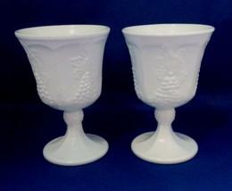 """Goblets 2 Stemmed White Milk Glass - Grape Design Unmarked 5.25"""" Tall Vi... - $6.00"""