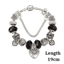 VIOVIA European Silver Color Murano Glass Beads Heart Charms Bracelet Fi... - $10.49