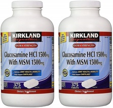Kirkland Signature Glucosamine HCI (Pack of 2) Extra Strength with MSM (375CounT - $97.14