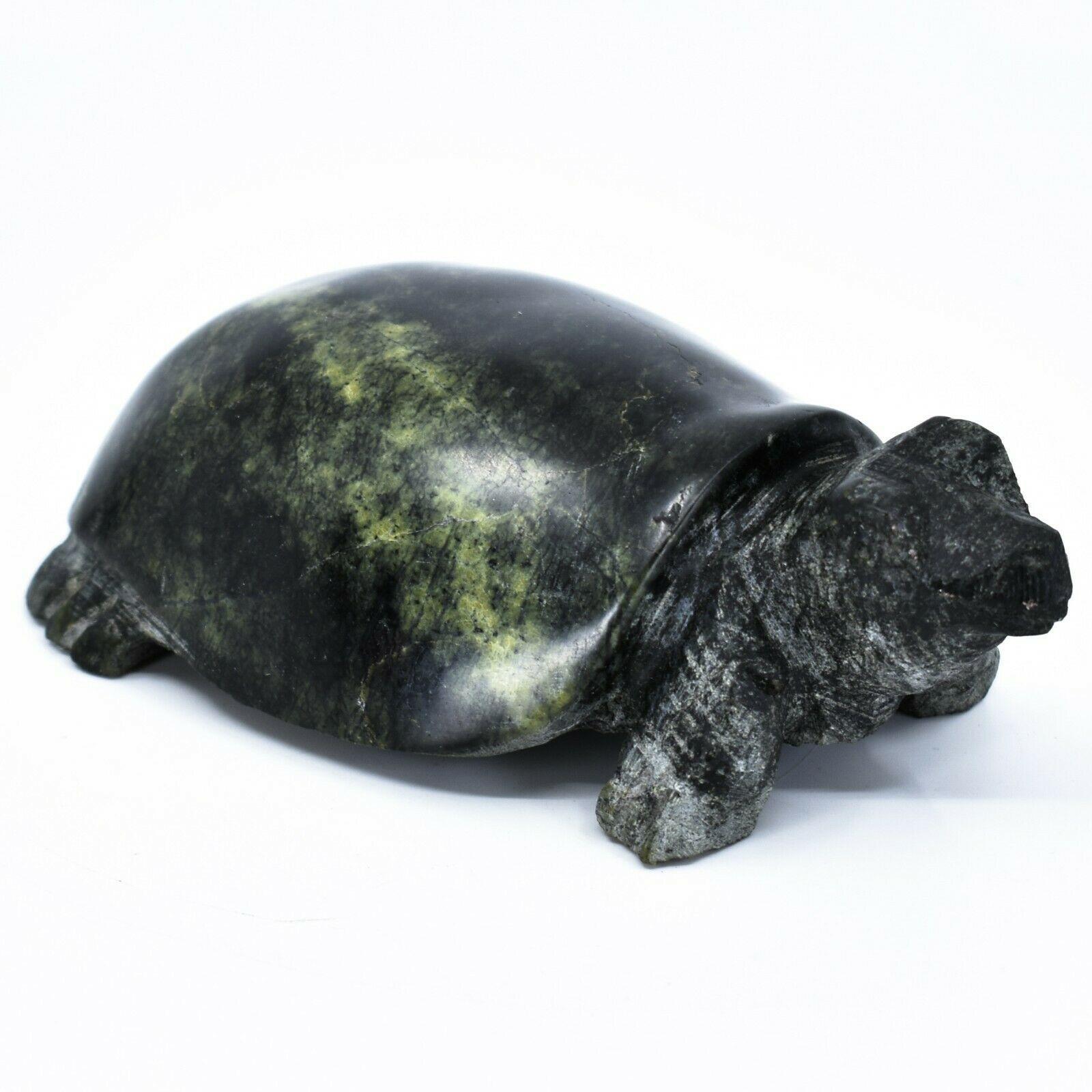 Hand Carved Zimbabwean Serpentine Stone Box Turtle Sculpture Figurine