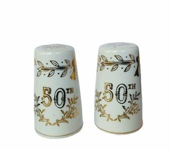 Salt Pepper Shakers vtg figurines Japan Lefton 50th anniversary gold lim... - $19.75
