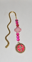 Gold Bookmark,  Pink Cross Charm, Cross Focal, Pink and Gold Bookmark Charm - $6.99