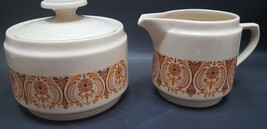 Vintage Retro Glaze Kun Lun sugar creamer orange red cream  creamer suga... - $27.99