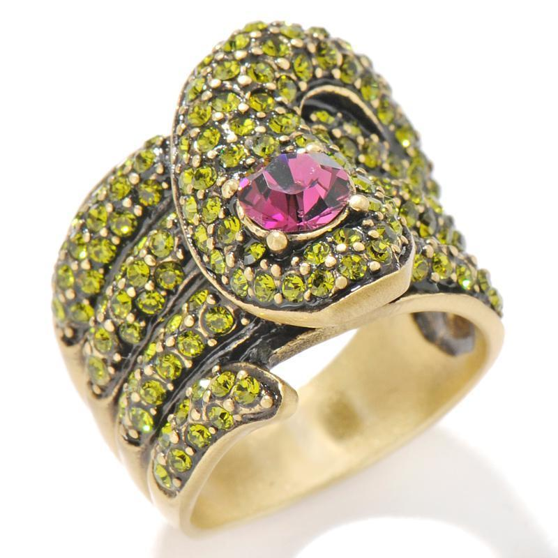 Heidi Daus Serpent Snake Green Crystal Ring size 6, 7