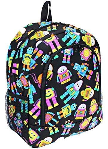 "Colorful Robot Print 16"" School Backpack Black"