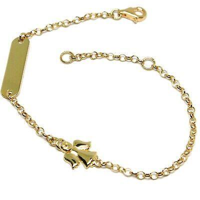 Bracelet or Jaune 18K 750, Filles, Plaque, Ange, Longueur 16.5 CM