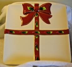 "St. Nicholas Square HOLLY JOLLY 9.5"" Square Platter Plate Dish Holly Rib... - $33.65"