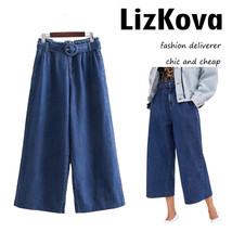 Women Vintage Blue Denim Pants High Waist Loose Wide Leg Pant with Belt Fashion - $81.00