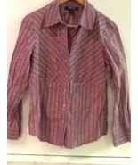 Style & co. Petite Purple Metallic Striped Button Down Collared Shirt Bl... - $12.95