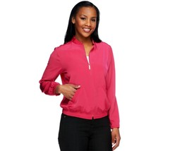 Susan Graver Stretch Peachskin Zip Front Bomber Jacket Deep Pink L NEW A... - $39.58