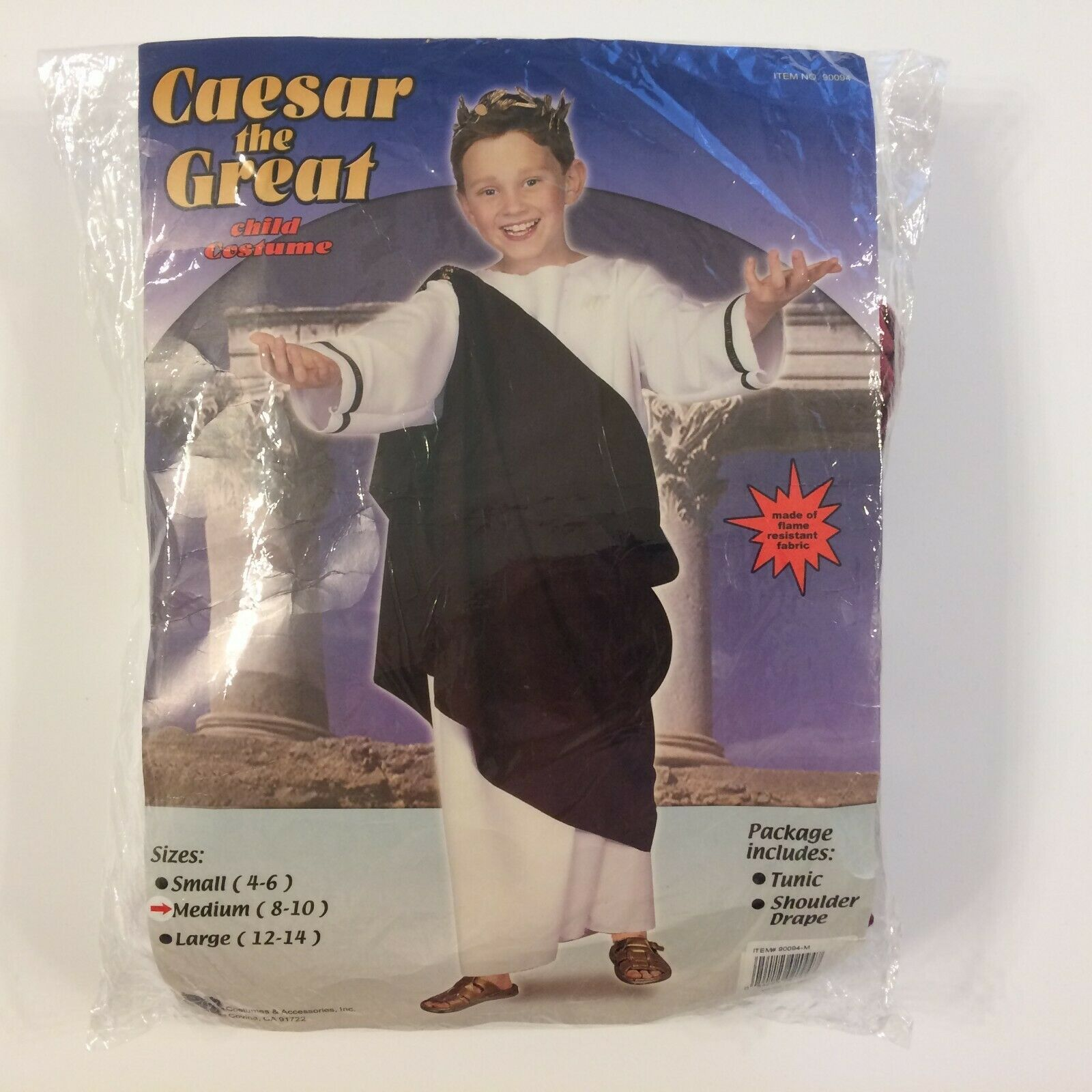 Primary image for Caesar the Great Child Costume Size Medium (8-10) White Toga Greek Robe & Drape