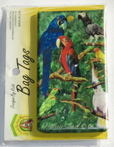 Parrots Birds Bag Tag Silicone Suitcase Travel Luggage USA Made Macaw Bl... - $11.87