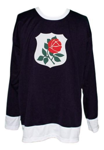 Custom   portland rosebuds retro hockey jersey black   1