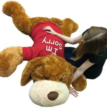 I'm Sorry Giant Stuffed Puppy Dog 5 Feet Long Brown Soft Wears I'M SORRY T-shirt - $127.11