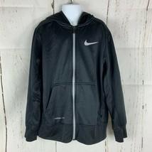 Nike Youth Boys Size Medium Therma Fit Full Zip Hoodie Black Gray Logo - $4.95