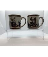 Pair Vintage Otagiri Ceramic Tea Coffee Mug Owl - Blue Brown - $19.75