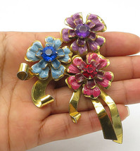 CORO 925 Silver - Vintage Rare Multi-Color Topaz Flowers Brooch Pin - BP4048 - $104.91
