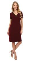 Anne Klein Women Foil trim V-neck Lined Sleeveless Red Wine Dress 10 $129 - $53.69
