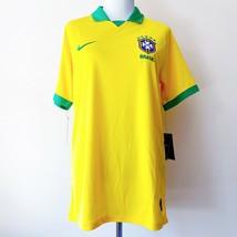 NWT New Nike Brazil Brasil Stadium Soccer Futbol Jersey Yellow Mens Large - $79.99