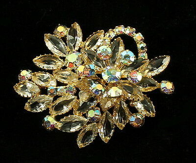 Primary image for Vintage Juliana Aurora Borealis Crystal Marquise Rhinestone Trailing Star Pin 3""