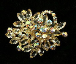 Vintage Juliana Aurora Borealis Crystal Marquise Rhinestone Trailing Sta... - $143.99