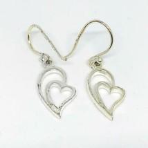 Vintage .925 Sterling Silver Heart Dangle Earrings - £19.44 GBP