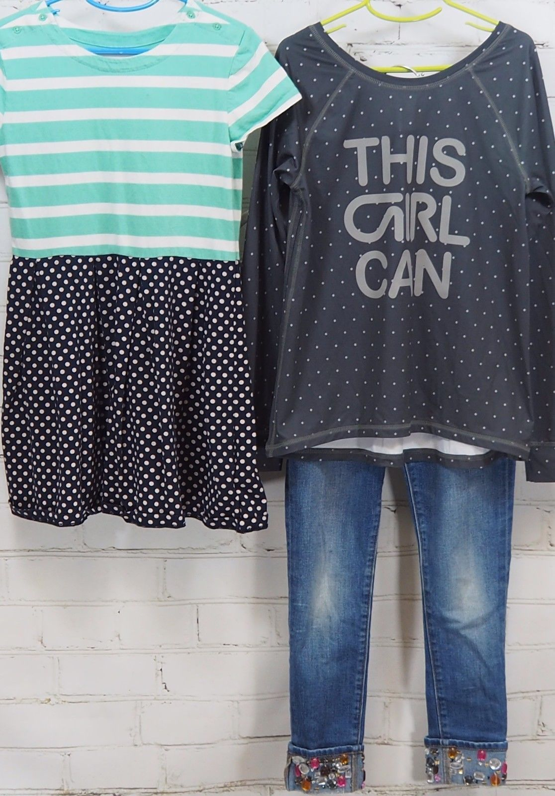 Gap Kids Outfit Set: Dress + GapFit This Girl Can T-Shirt + Bling Jeans M (8-9)
