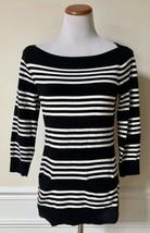 NEW Ann Taylor Loft Black White Stripe Sweater Knit Top Front Pockets Boatneck S - $14.99